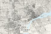 istock Detroit, Michigan, Vector Map 1266325239