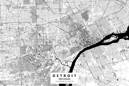 Detroit, Michigan, Vector Map