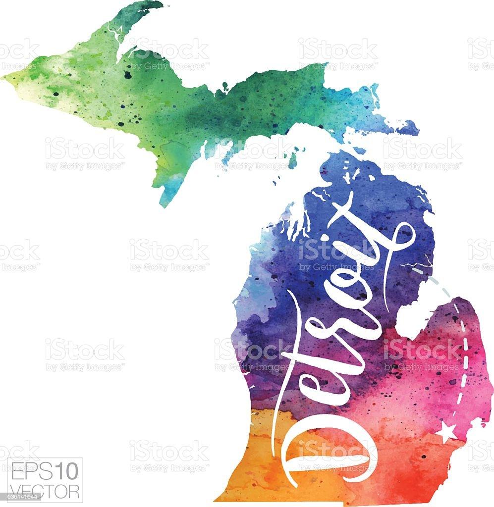 Detroit, Michigan Vector Watercolor Map vector art illustration