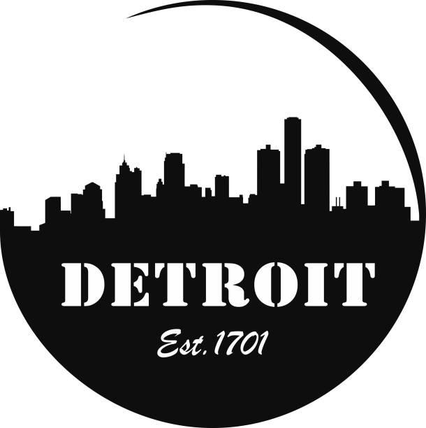 Detroit Skyline Logo vector art illustration
