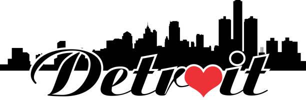 Detroit Skyline Love vector art illustration