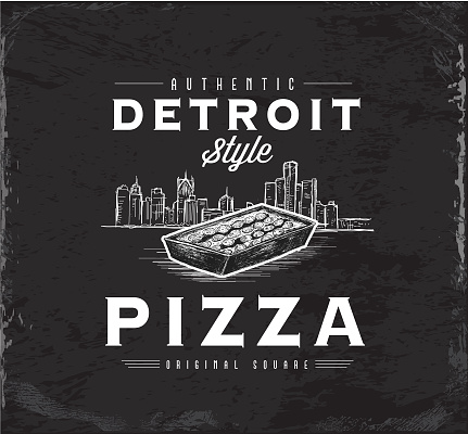 Detroit-style square pizza vintage label with square pan pizza and sketchy Detroit skyline design with text