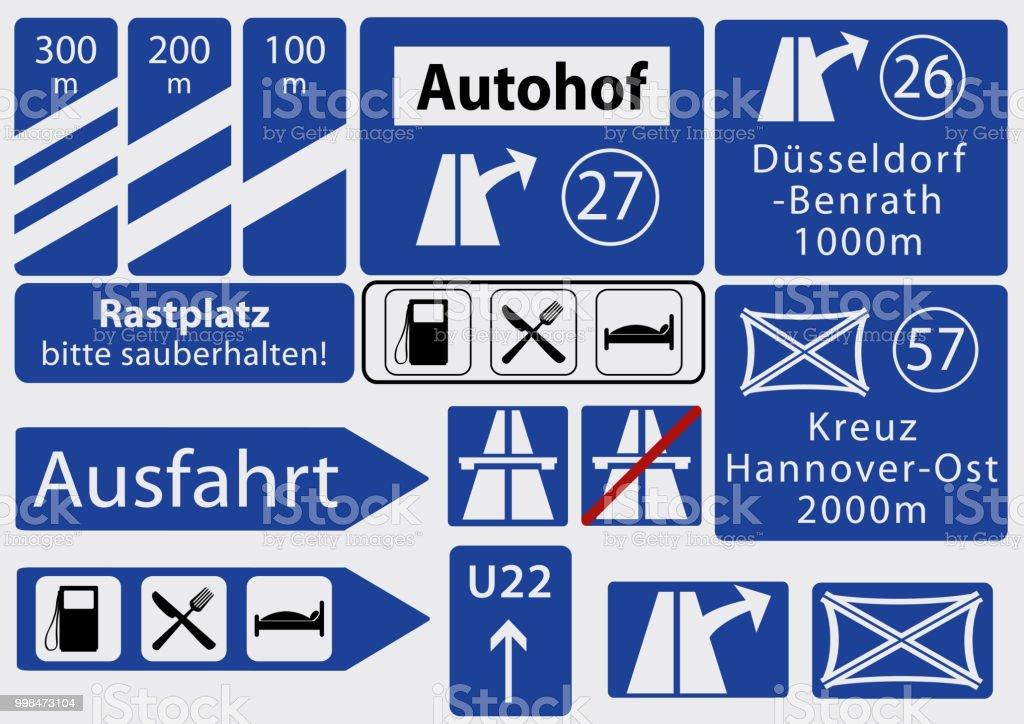 Deutsche Autobahnschilder, Sammlung – Vektorgrafik
