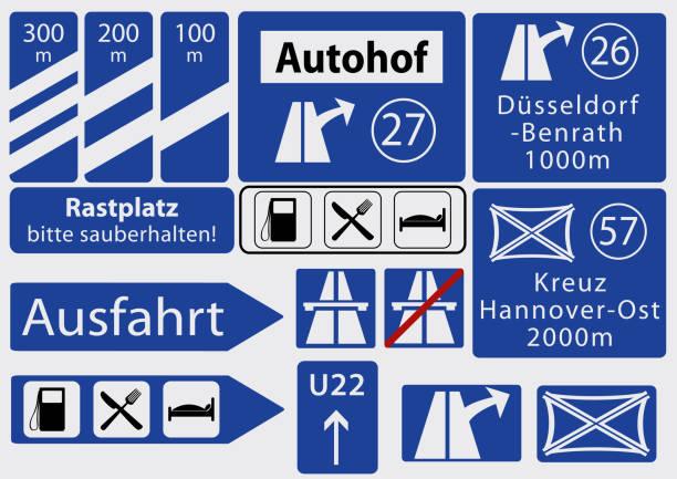 deutsche autobahnschilder, sammlung - straßenschilder stock-grafiken, -clipart, -cartoons und -symbole