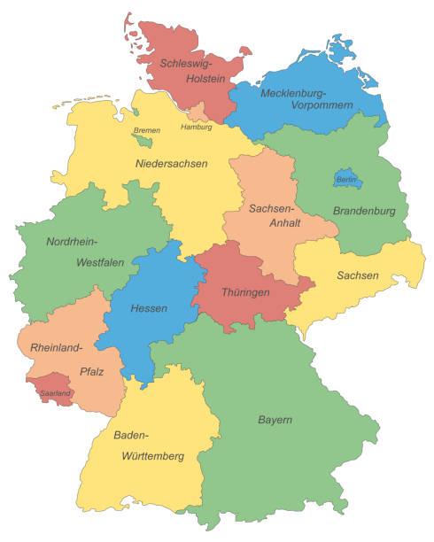 bildbanksillustrationer, clip art samt tecknat material och ikoner med deutschland_farbe_schrift - germany map leipzig