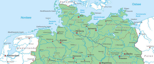 deutschland_kueste_v2 Germany - Map of Northern Germany (high detailed) lachen stock illustrations