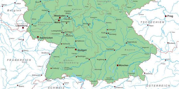 bildbanksillustrationer, clip art samt tecknat material och ikoner med deutschland_sueden_v2 - germany map leipzig
