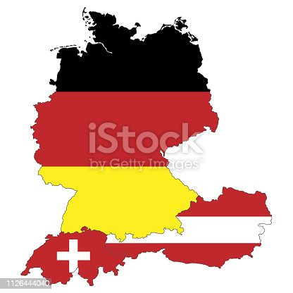 Map of Germany, Austria and Switzerland
