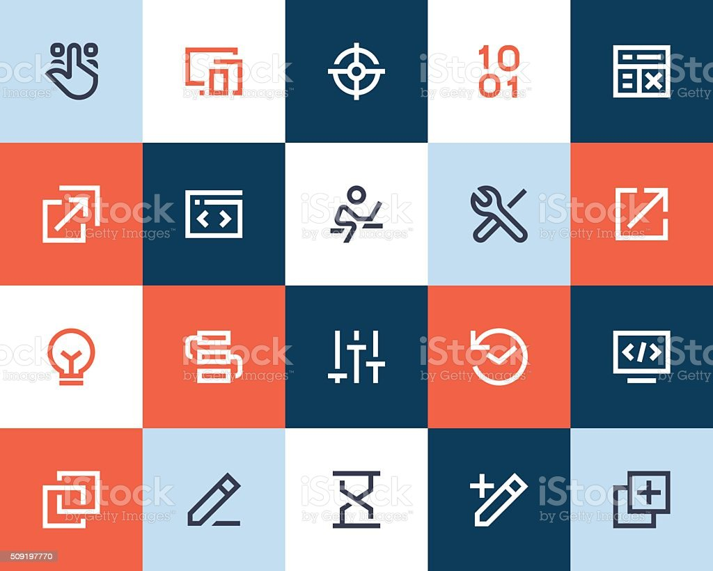 Developer and programing icons. Flat style vector art illustration