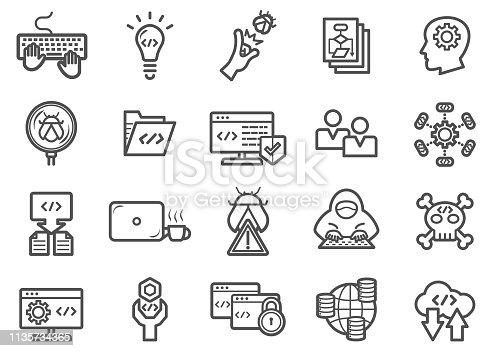 Developer and Programmer Coding Line Icons Set
