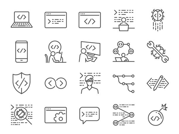 developer icon set. included the icons as code, programmer coding, mobile app, api, node connect, flow, logic, web coder, bug fix and more - ilustracje z kategorii architektura stock illustrations