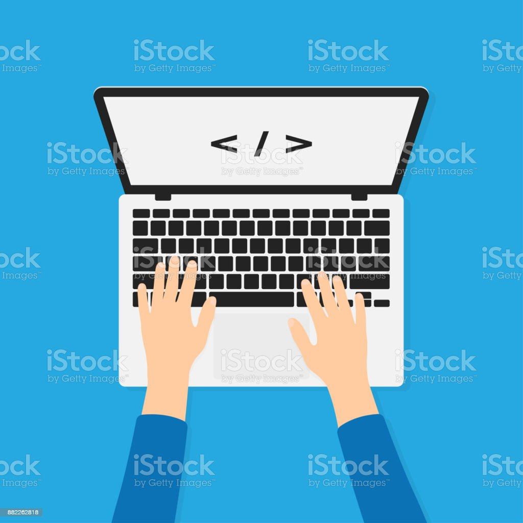 Developer, programmer working with laptop and typing code. Programming and coding background concept. Hands on laptop in top view vector art illustration