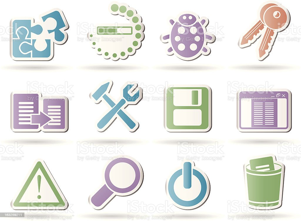 developer, programming and application icons royalty-free stock vector art