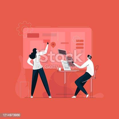 istock developer working together illustration vector, creative designer team, UI UX development concept 1214973930