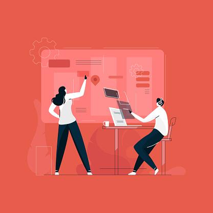 developer working together illustration vector, creative designer team, UI UX development concept