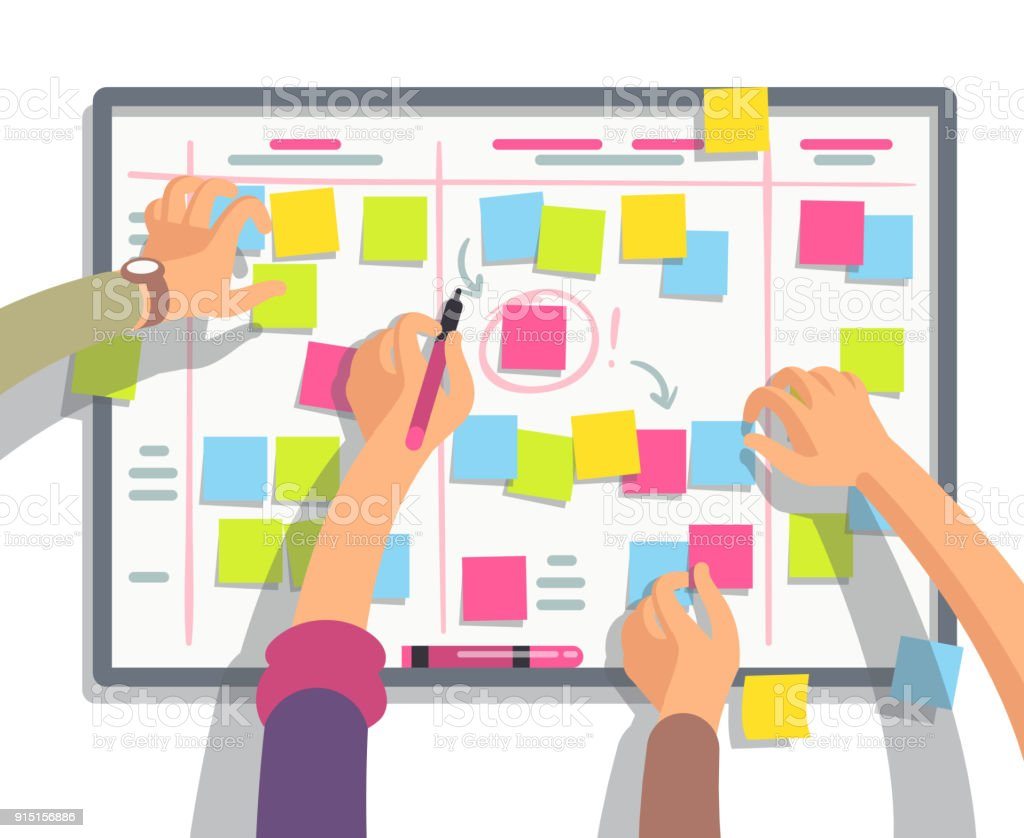 Developers team planning weekly schedule tasks on task board. Teamwork and collaboration vector flat concept vector art illustration
