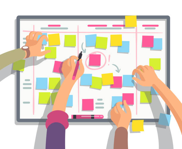 Developers team planning weekly schedule tasks on task board. Teamwork and collaboration vector flat concept Developers team planning weekly schedule tasks on task board. Teamwork and collaboration vector flat concept. Task scheme whiteboard, taskboard schedule strategy illustration agenda stock illustrations