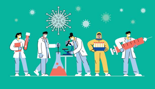 ilustraciones, imágenes clip art, dibujos animados e iconos de stock de desarrollo de la vacuna contra el coronavirus - covid 19 vaccine