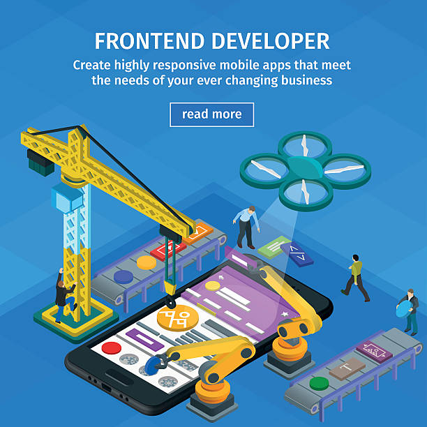 Developing mobile applications flat 3d isometric style. vector art illustration