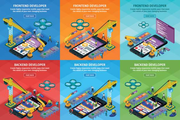 Developing mobile applications flat 3d isometric style. Vertical banners set web design. Frontend and backend app development. People working on startup. vector art illustration