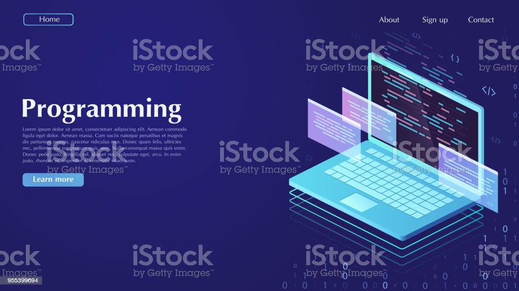 Development and software. Concept of programming, data processing. Сomputer code with windows on laptop screen. vector art illustration