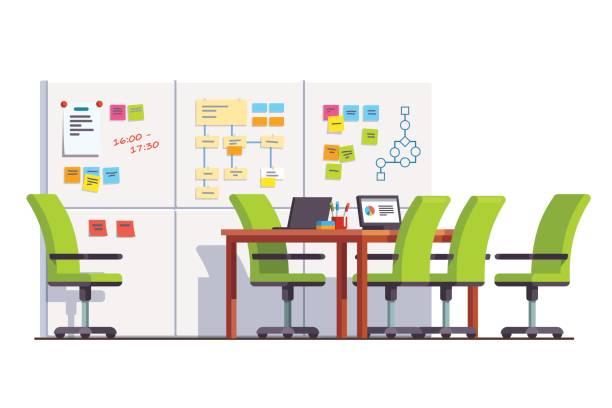 it entwicklung firmasitzungssaal mit tafel - büro zukunft und niemand stock-grafiken, -clipart, -cartoons und -symbole