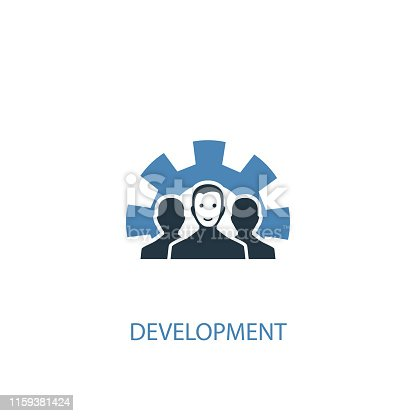 development concept 2 colored icon. Simple blue element illustration. development concept symbol design. Can be used for web and mobile UI/UX