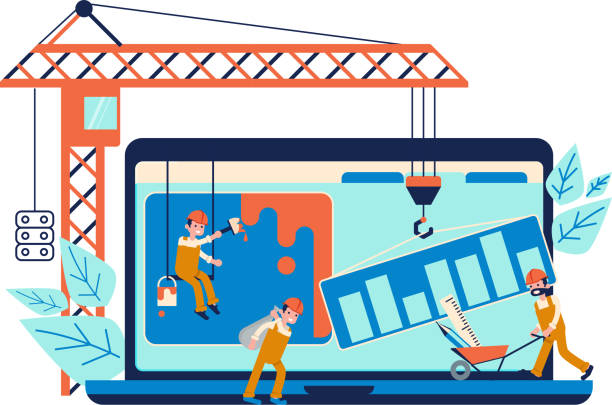 entwicklungskonzept und website im bau - kranich stock-grafiken, -clipart, -cartoons und -symbole