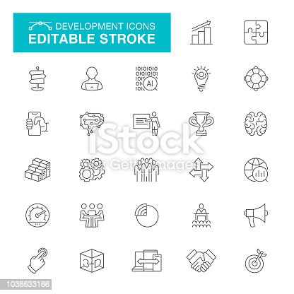Manager, Working, Sports Target, Businessman, Startup Editable Line Icon Set