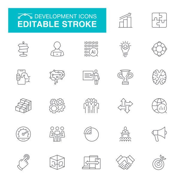 development editable stroke icons - chudy stock illustrations
