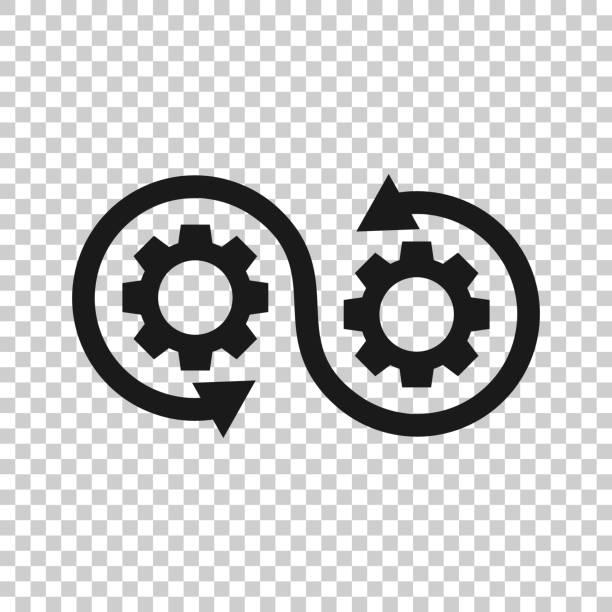 ilustrações de stock, clip art, desenhos animados e ícones de development icon in transparent style. devops vector illustration on isolated background. cog with arrow business concept. - agilidade