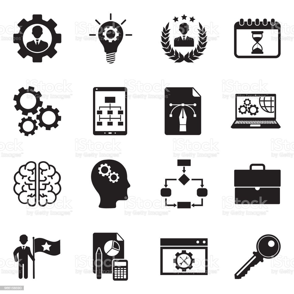 Development Icons. Black Flat Design. Vector Illustration. - Royalty-free Advice stock vector