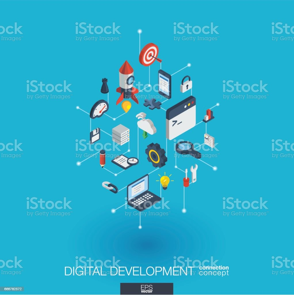 Development integrated 3d web icons. Digital network isometric concept.