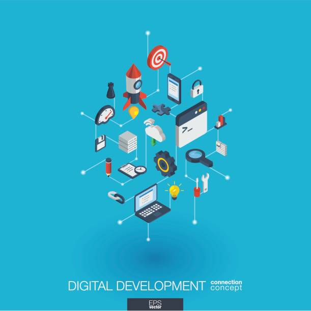 Development integrated 3d web icons. Digital network isometric concept. Development integrated 3d web icons. Digital network isometric interact concept. Connected graphic design dot and line system. Abstract background for programming, coding, app design. Vector Infograph changing form stock illustrations