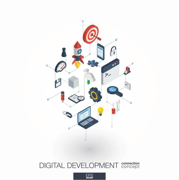 Development integrated 3d web icons. Digital network isometric concept. Development integrated 3d web icons. Digital network isometric interact concept. Connected graphic design dot and line system. Abstract background for programming, coding, app design. Vector on white. changing form stock illustrations
