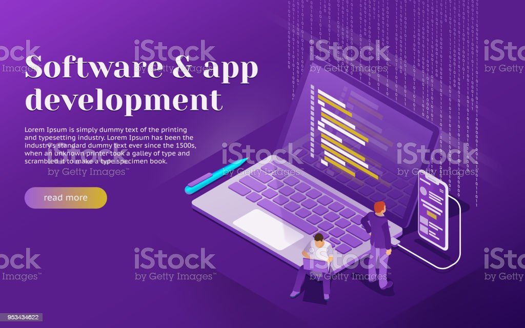 Development of software and mobile app. Program code on laptop and phone screen. vector art illustration