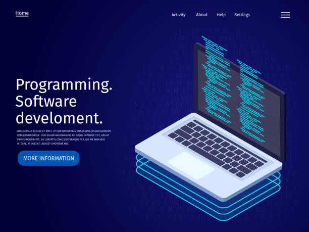 Development of software and programming. Laptop in flat 3d isometric illustration. Landing page template. vector art illustration