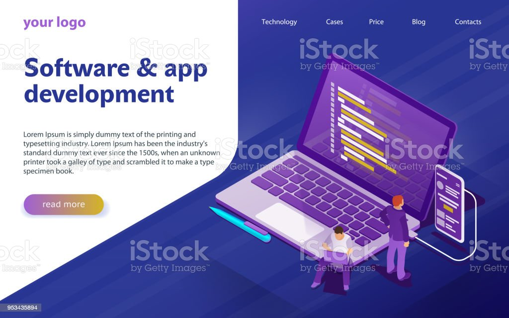 Development of software and programming. Program code on computer screen and phone screen vector art illustration