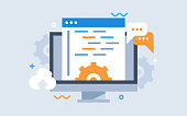 Development of software and programming. Program code on computer screen . Launch a new product on a market. Computer display in flat style. Design template from landing page or banner.