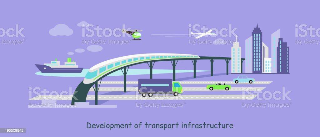 Development of Transport Infrastructure Icon Flat vector art illustration
