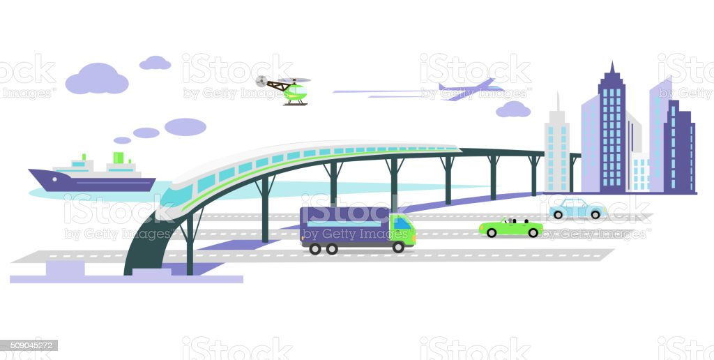 Development of Transport Infrastructure Icon Flat vector art illustration