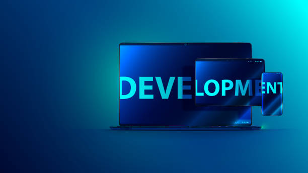 Development software. Programming and coding app. Laptop, tablet, phone. Cross platforms computer program vector art illustration