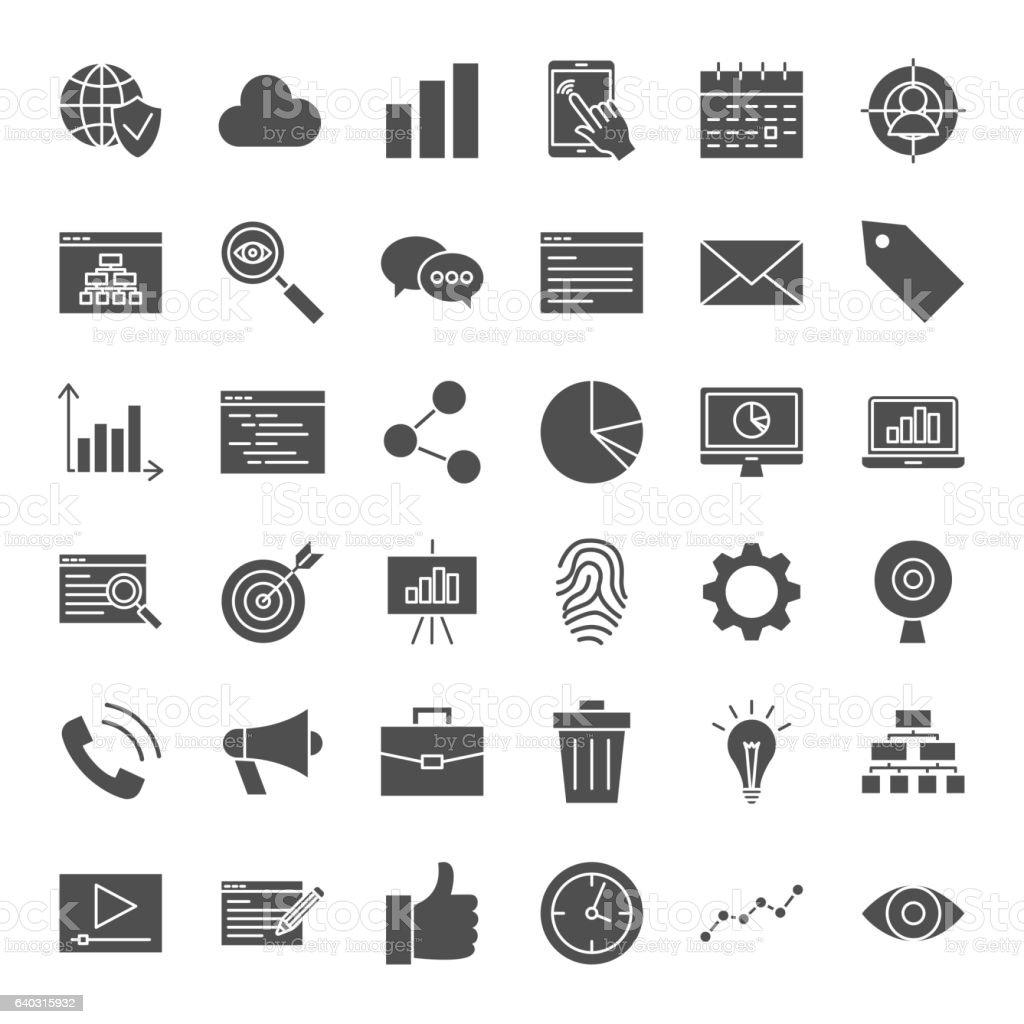 Development Solid Web Icons vector art illustration