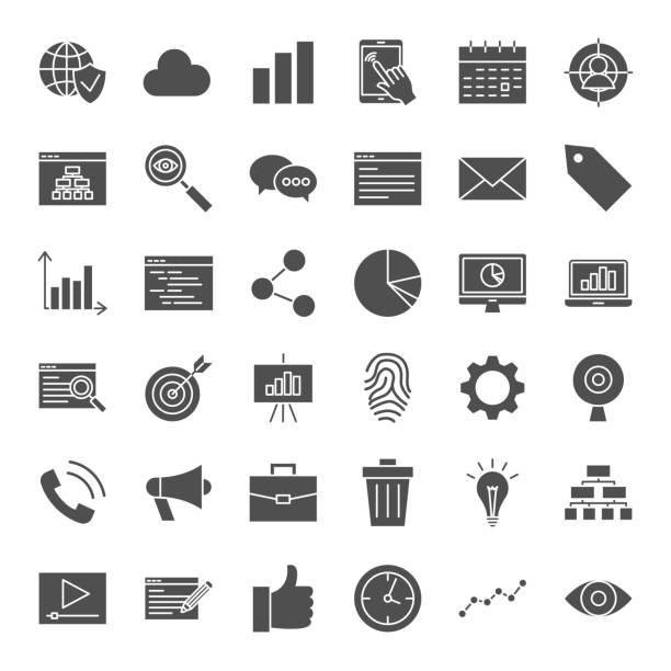 illustrations, cliparts, dessins animés et icônes de development solid web icons - état solide