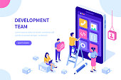 People team develop mobile application. Can use for web banner, infographics, hero images.  Flat isometric vector illustration isolated on white background.