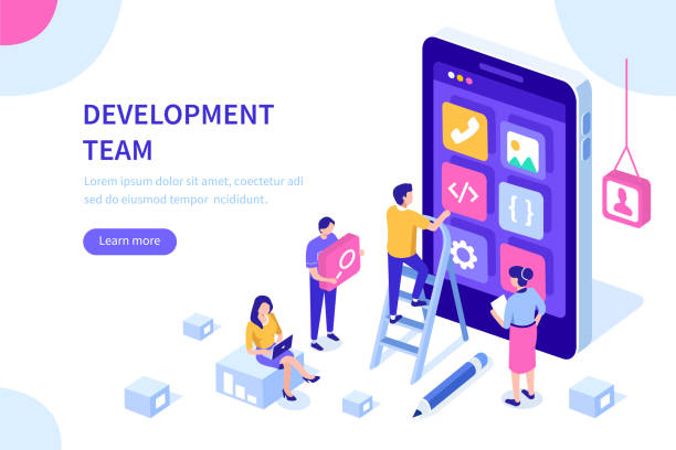 development People team develop mobile application. Can use for web banner, infographics, hero images.  Flat isometric vector illustration isolated on white background. website design stock illustrations
