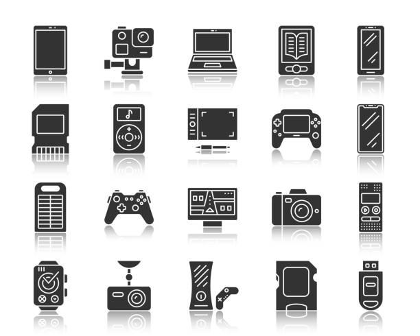 stockillustraties, clipart, cartoons en iconen met zwarte silhouet iconen vector apparaatset - gopro