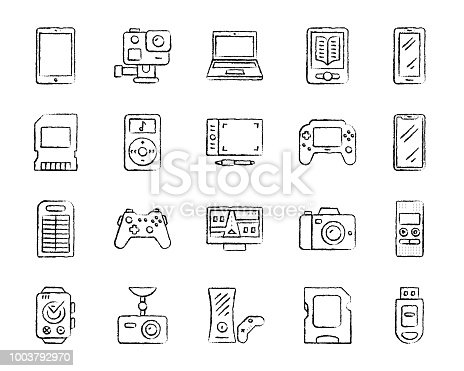 Device charcoal icons set. Outline web sign kit of gadget. Electronics linear icon collection includes navigator, watch, Smartphone. Simple hand drawn device symbol on white. Vector Illustration