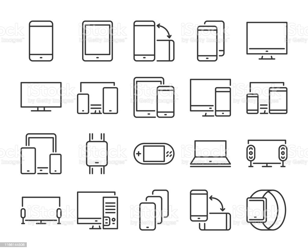 Device icon. Electronic and devices line icons set. Editable stroke. Pixel Perfect. - Royalty-free Acariciar arte vetorial