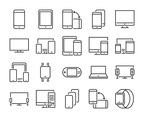 Device icon. Electronic and devices line icons set. Editable stroke. Pixel Perfect. clipart